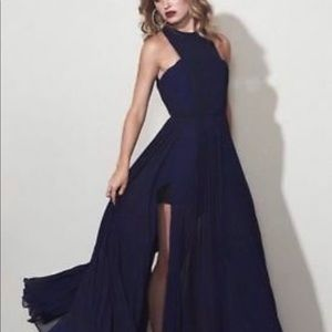 Fame and partners  Valerie cut out dress navy blue